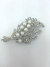 Perlas de Imitación y diamantes de imitación Diamante Cristal Hoja De Tono Plata Aleación De Broche