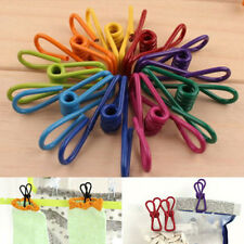 10x Metal Clamp Clothes Laundry Hanger Strong Grip Washing Line Pin Pegs Clip RS