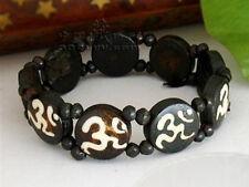 Vintage Stretchy Tibetan 9 Mantra Sanskrit OM Slip Yak Bone Beaded Bracelet