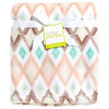 NWT Baby Starters Girl Layette Diamond Chevron Geo Soft Plush Crib Blanket 30x40