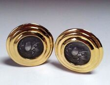 Carolee Gold Tone Ribbed Design Pewter Roman Greek Coin Clip Earrings Signed