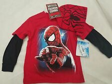 New Boys Size XXL ( 18 ) Amazing Spiderman Long Sleeve T-Shirt & Hat 2pc Combo