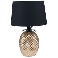 Gold Pineapple Table Lamp & Black Shade H: 44cm Unique and Beautiful