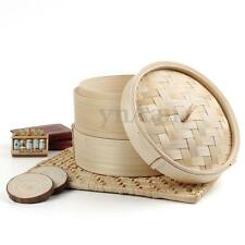 2 Tier Bamboo Steamer, Chinese Dim Sum Basket Rice Pasta Cooker Set with Lid