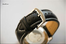 NEW MEN 24mm XL EXTRA LONG BLACK CALF SMOOTH GENUINE LEATHER WATCH BAND,STRAP