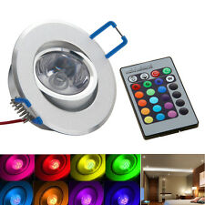 3W RGB Color Change LED Remote Recessed Cabinet Lamp Ceiling Spot Down Light