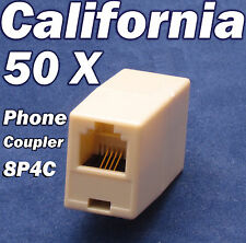 Lot 50 X RJ11 Phone Coupler Joiner Adapter Telephone Cable 8P4C Jack Connector