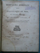 CUBIERES : HISTOIRE DES COQUILLAGES DE MER, 1800. In-4, 20 planches en bistre