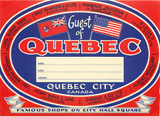 Guest of QUEBEC CITY ~CANADA~ Colorful Old Luggage Label, circa 1950