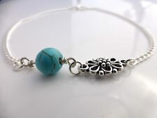 Turquoise Bead and Silver Plated Chain & Flower Connector Anklet Something Blue