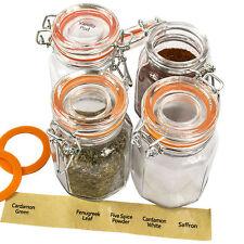 Set di 4 clip vintage top in vetro trasparente a Chiusura Ermetica Spezie Alimenti Erbe Conservazione Barattoli Set
