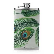 Leather Wrapped 6oz Stainless Steel Hip Flask FSK173 Peacock Feathers