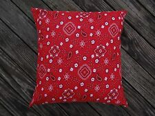 Pillow Cover 16 x 16 SET OF TWO 100% Cotton Red Bandana Decorative pillow