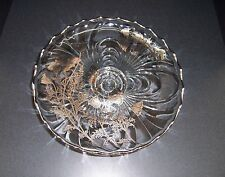 Cambridge Floral Poppy Silver Overlay Footed Cake Plate