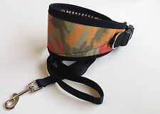 "GREYHOUND / LURCHER DOG COLLARs FLEECE LINED ADJUSTABLE 13"" - 17"" INC FREE LEAD"