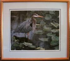 Print Framed Limited Edition AFTER THE RAIN BLUE HERON Terry Isaac Lithograph