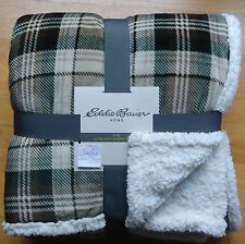 Eddie Bauer SHERPA Plush Fleece KING BED BLANKET Plaid GREEN BROWN Cabin Soft
