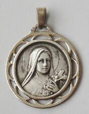 GORGEOUS OLD RELIGIOUS SOLID SILVER MEDAL ST. THERESA