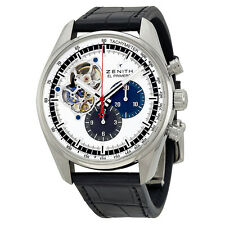 Zenith El Primero Chronomaster Silver Dial Black Leather Mens Watch