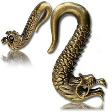 PAIR ORNATE 0g (8mm) TRIBAL DRAGON BRASS EAR WEIGHTS PLUGS TUNNELS STRETCH GAUGE