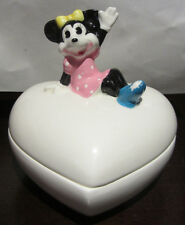 RARE Disney Minnie Mouse Jewelry Trinket Box Ceramic Porcelain Figure Figurine