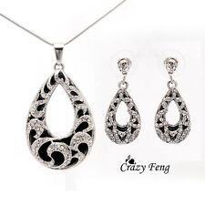 Women's 18k Gold/Silver Plated Crystal Pendant Necklace Earrings Jewelry Sets