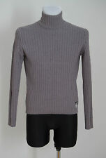 MENS CALVIN KLEIN JUMPER SWEATER CHUNKY 100 % WOOL FUNNEL GREY SIZE S SMALL EXC