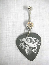 WILD SINGER BOB MARLEY SILVER & BLACK PICTURE GUITAR PICK CZ BELLY BUTTON RING