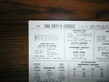 1966 Chevrolet Chevy II & Chevelle 230 CI L6 SUN Tune Up Chart Great Condition!
