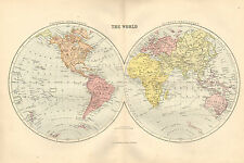 1880 VICTORIEN MAP THE WORLD OCCIDENTALE & DE L'EST HÉMISPHÈRES ASIA EUROPE