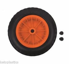 "PU 16"" PUNCTURE PROOF ORANGE WHEELBARROW WHEEL TYRE 4.80 - 8 FOAM FILLED"