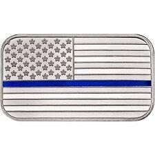American Flag Blue Line 1oz .999 Silver Bar Enameled