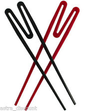 Set Of 2 Chopsticks Chinese Typhoon Easy To Use Training Rookie Stix Red Black