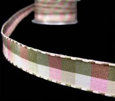 "2 Yds May Arts Reversible Pink Olive Army Green Plaid Ribbon 1/2""W"
