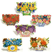 36 Decoupage Flowers in a Die-cut Bowl Greeting Cards