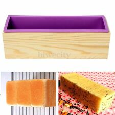 Big Rectangle Toast Loaf Bread Soap Cake Silicone Mold Mould + Wooden Box