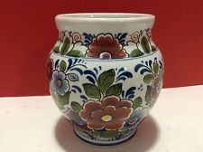Delft Vase Pattern #177 Dutch Flowers Brown Blue Green Mini Ginger Jar Holland