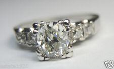 Antique Diamond Engagement Ring Platinum Ring Size 4.75 EGL USA Vintage Art Deco