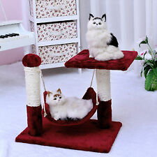 Pet Cat Scratching Tree Furniture Kitten Condo Poles Gym House Bed Toys Red AU