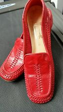 Brandeis Loafers 6.5 Aa Fits 5.5 Red Vintage Italian Leather Medium Chunky Heels