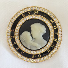 New Mother Baby Jesus Vintage Style Crystals Round Cameo Brooch Pin Gift BR1131