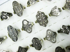 30Pcs Wholesale Lot Mixed Style Jewelry Tibet Silver Vintage Rings Free Shipping