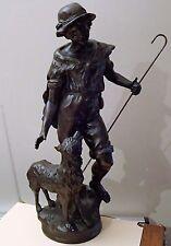 SCULPTURE LE BERGER et son CHIEN en REGULE de MOREAU, hauteur 45 cm