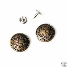 10 sets NO-SEW jeans tack Buttons metal 21mm  Swivel Type Antique gold Lion