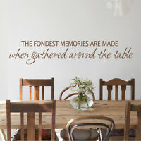 Kitchen Inspired Wall Decal The Fondest Memories Word Table Removable Art Decor