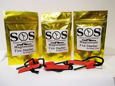 3-SOS lot EASY TO USE MAGNESIUM FLINT FIRE STARTER OUTDOOR WILDERNESS SURVIVAL