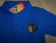 NWT Ed Hardy Boy $53 Royal Blue Polo Golf Shirt BLACK PANTHER M/10 Cotton GREAT!