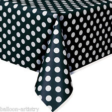 """54""""x108"""" BLACK White Polka Dot Spot Style Party Disposable Plastic Table Cover"""