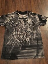 Affliction Puppet Master Shirt ! Heaven/hell Size Medium ! Black & Gray