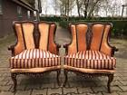 antique chairs in Louis XVI style, brown wood and amazing French fabric